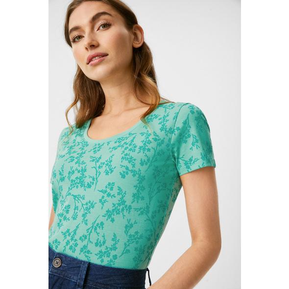 Basic-T-Shirt - Bio-Baumwolle - geblümt